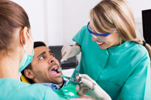 Fearful man at dental office